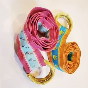 Ribbon Bamboo D-Ring Belts Frogs Flamingoes Lot/2